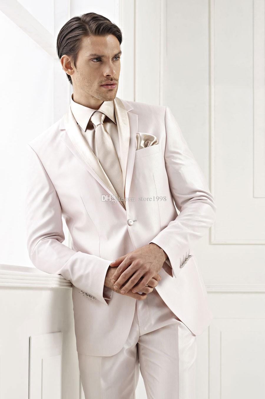 Marka Yeni Groomsmen Notch Yaka Damat Smokin Bej Erkekler Düğün / Balo Suits İyi Adam Blazer (Ceket + Pantolon + Kravat) A351