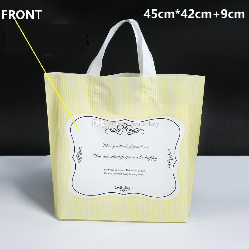 45cm*42cm+9cm Large Elegant Plastic handle bag Stripe Printing hand bags with handle Packing bags For gift cosmetic clothes etc. YELLOW