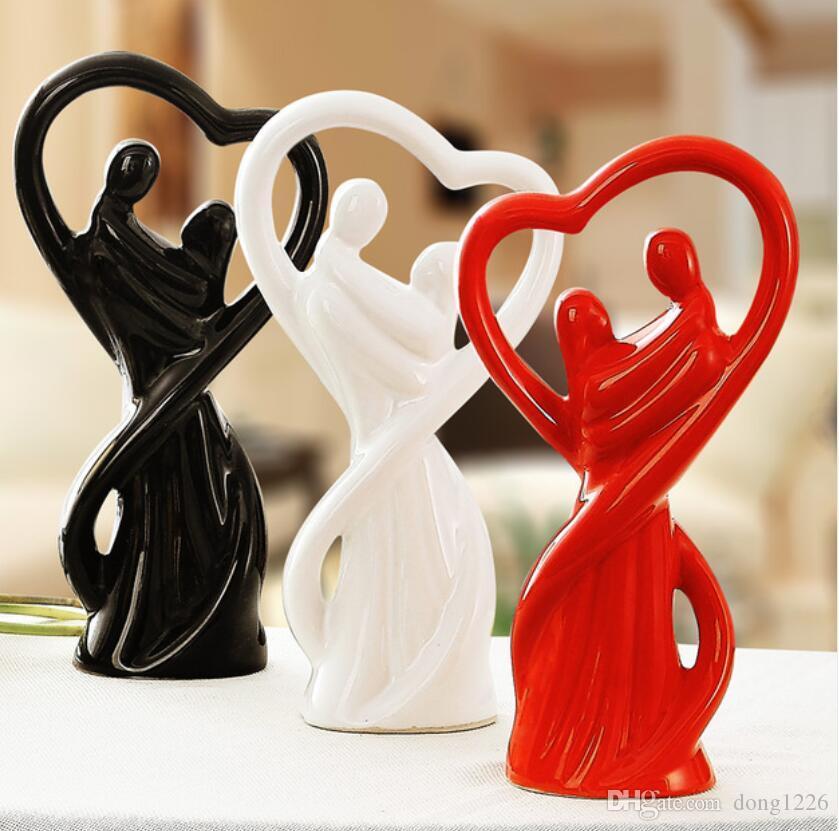Amantes de cerâmica decoração da casa artesanato decoração do quarto de cerâmica artesanato ornamento estatuetas de porcelana decorações de casamento
