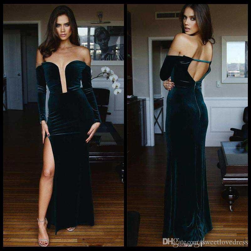 2018 Fashion Sexy Plunging Neck Long Sleeve Mermaid Prom Dresse Split Side Velvet Formal Evening Gowns Backless Party Wear