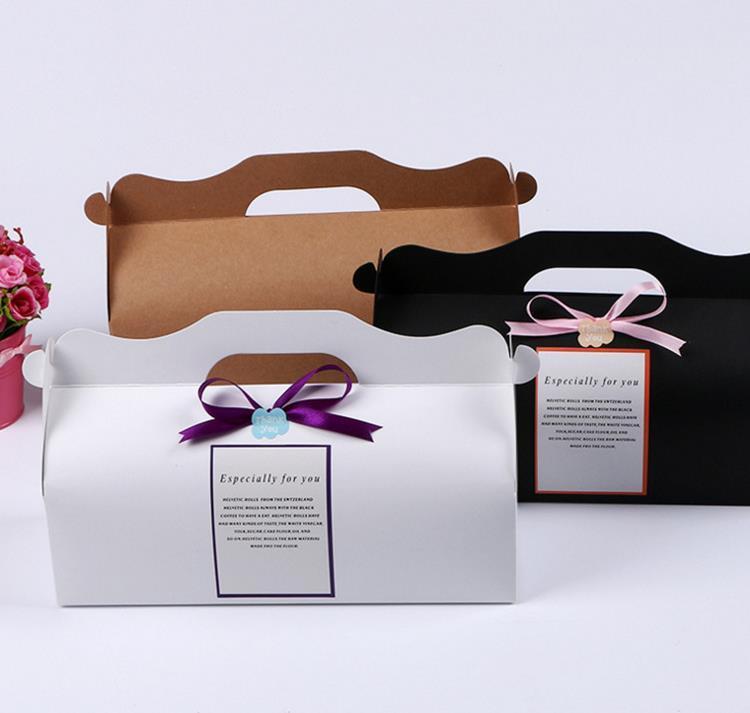 100 unids 27.5 * 10.5 * 7.5 cm Kraft Tarjeta de Papel DIY Party Muffin Cake Box Con Mango Cupcakes Holder Embalaje Envío Gratis