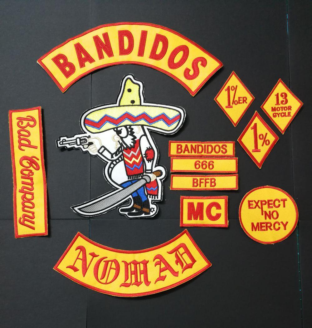 NOVA CHEGADA 12 PÇS / SET BANDIDOS NOMADS MC PATCHES PARA O JAQUETA COLETE MOTOCICLETA vestuário VESTUÁRIO BANDIDO PATCHES FERRO NO ETIQUETA ADESIVO