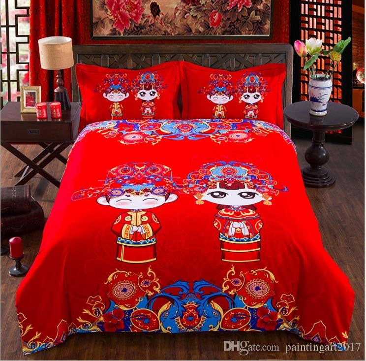 Home Textile Winter Bright-color Flower Series Bed Linens 4pcs Bedding Sets Cotton Bed Set Duvet Cover Bed Sheet Adults Cover Set