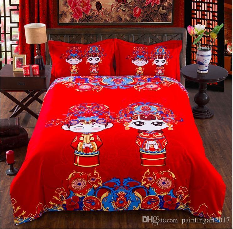 Textiles para el hogar Serie de flores de color brillante de invierno Ropa de cama 4pcs Juegos de cama Juego de cama de algodón Funda nórdica Sábana para cama Juego de cubierta para adultos