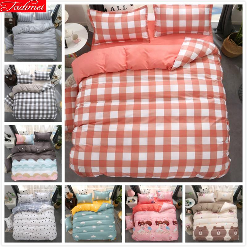 Pink Plaid Duvet Cover 3/4 pcs Bedding Set Adult Kids Soft Bed Linen Single Full Queen King Size 150x200 180x220 200x230 220x240