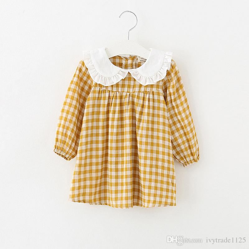 2018 اعتصامات نمط جديد وصول الفتيات جميل اللباس الكشكشة طوق طويلة الأكمام منقوشة طباعة اللباس 100٪ ٪ فتاة الاطفال أنيقة الإضافية اللباس