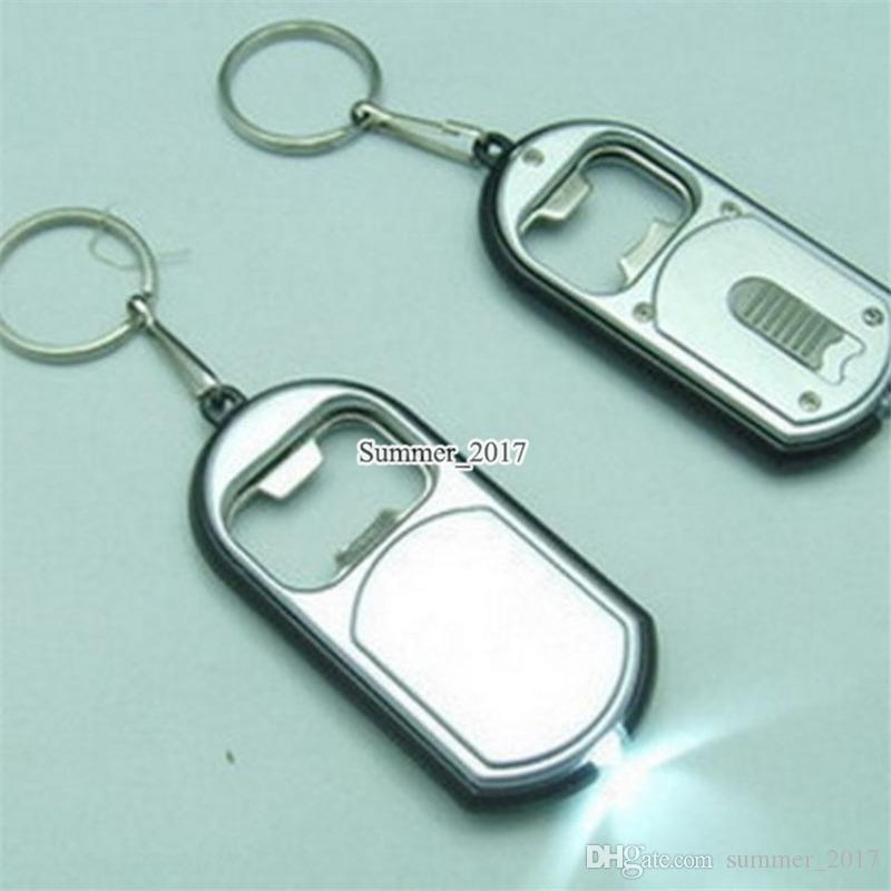 3 in 1 LED Flashlight Torch Keychain With Beer Bottle Opener Key Ring Chain Keyring Free Shipping