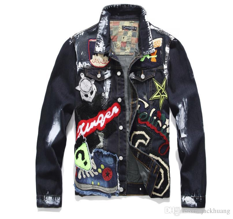Men's Punk Hip-hop Embroidery Patches Denim Jacket Turn Down Collor Single Breasted Beauty Badge Paint Jean Coat For Young Man S-2XL