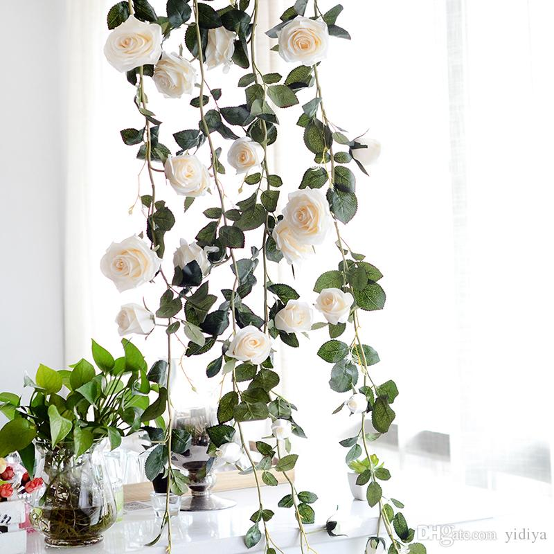 Long Artificial Rose Flower Decorative Fake Roses Vine Plants Leaves Art Garland Flowers Wedding Decoration Wall Hanging 1.8m