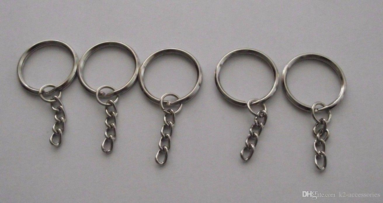 Sıcak ! 300pcs Gümüş Ton Zincir anahtar Halka DIY Takı Yapımı Bulguları 25mm