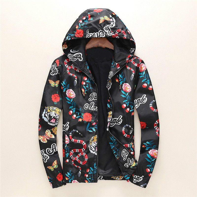 Chaqueta rompevientos de la moda de manga larga para hombre de las chaquetas con capucha de la cremallera Ropa con el modelo animal de la letra más el tamaño de la ropa M-3XL