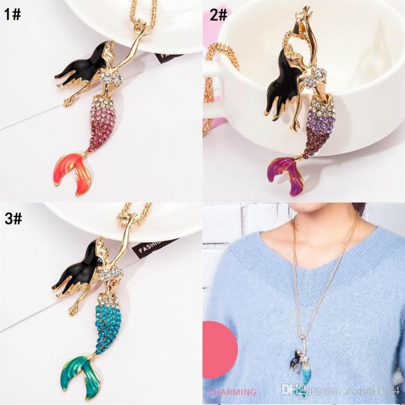 جميلة قلادة الأسماك سلسلة أزياء ذهبية اللون مع مقلد اللؤلؤ الرمادي Winered المينا حورية البحر قلادة قلادة للنساء