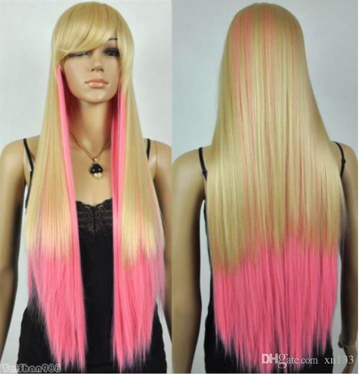 Heißer Verkauf neue lange blonde Mischung rosa gerade Frauen Dame Haar Perücke Perücken + Cap