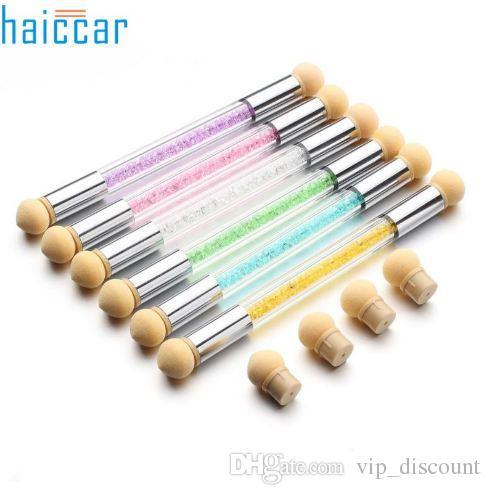Alta Qualidade Escolher Pontilhando Gradiente Caneta Escova 6 Esponja Definir Glitter Em Pó Da Arte Do Prego Ferramentas M19 # 25
