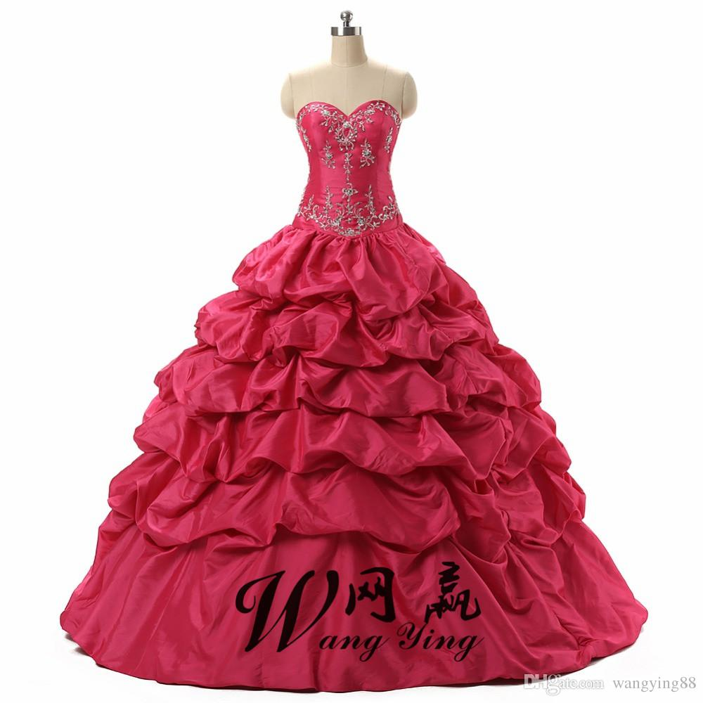 Hot Pink Debutante Sweet 16 Girls Masquerade Ball Gowns Sequin Embroidery Vestidos De 15 Anos Quinceanera Dresses