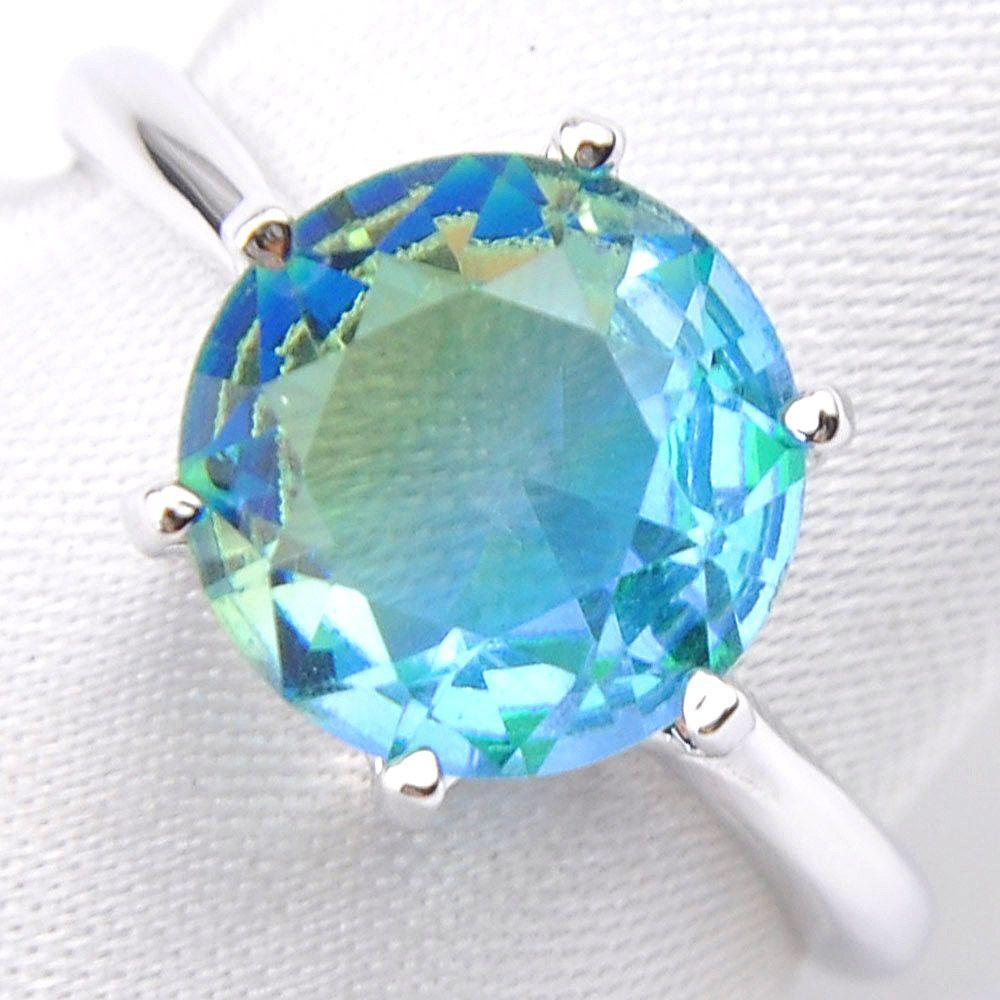 10 Stück Luckyshine 925 Sterlingsilber-Ring Runde Feuer Bi farbiger Turmalin Edelstein Verlobungsring Schmuck Frauen Freies Verschiffen