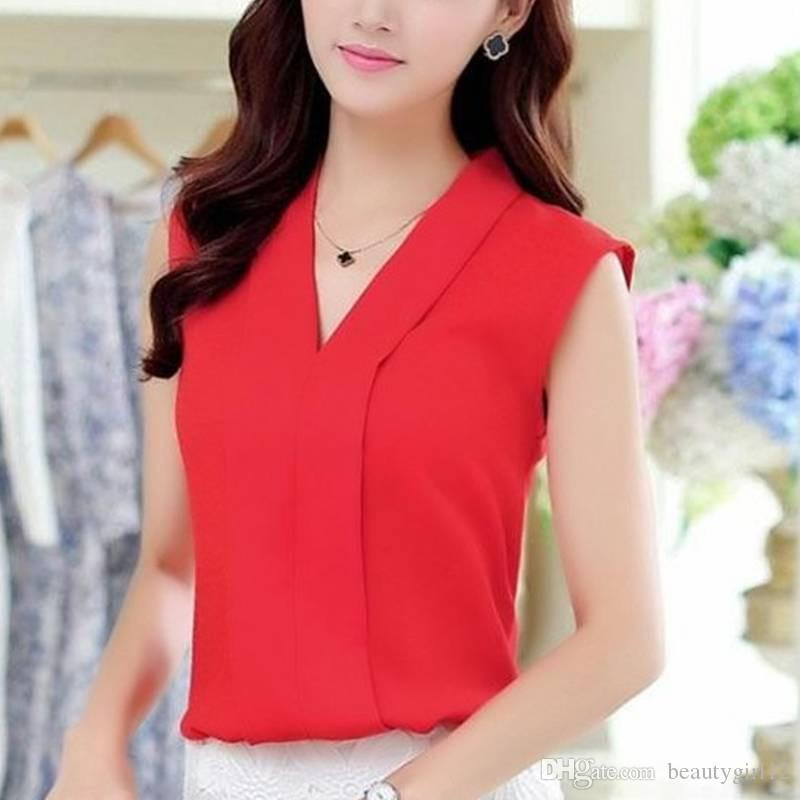 Compre Novas Mulheres Da Moda Blusas De Chiffon Das Senhoras Tops Camisa Sem Mangas Femininas Blusas Femininas Branco Vermelho Roxo Preto S Xl De