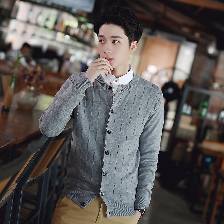 Весна и осень свитер геометрия мужская шею с длинным рукавом свитер кардиган тонкий британский свитер