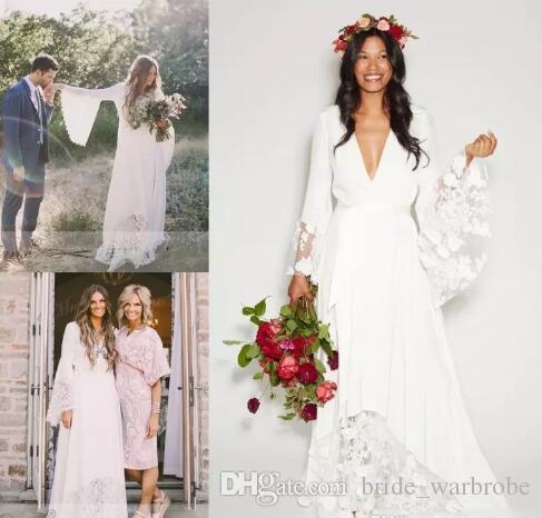 2017 Boho Beach Brautkleider Bohemian Long Bell Sleeve Spitze Blume Brautkleider Plus Size Hippie Hochzeitskleid