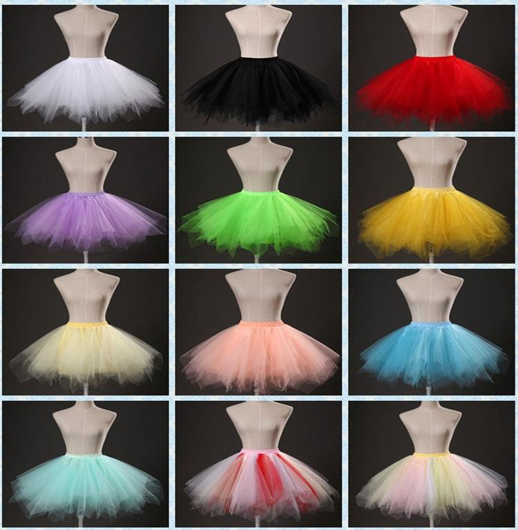 حار بيع الحلوى اللون فستان قصير اكسسوارات الزفاف تنورات مرونة الخصر الفرق اللون تول توتو التنانير للنساء