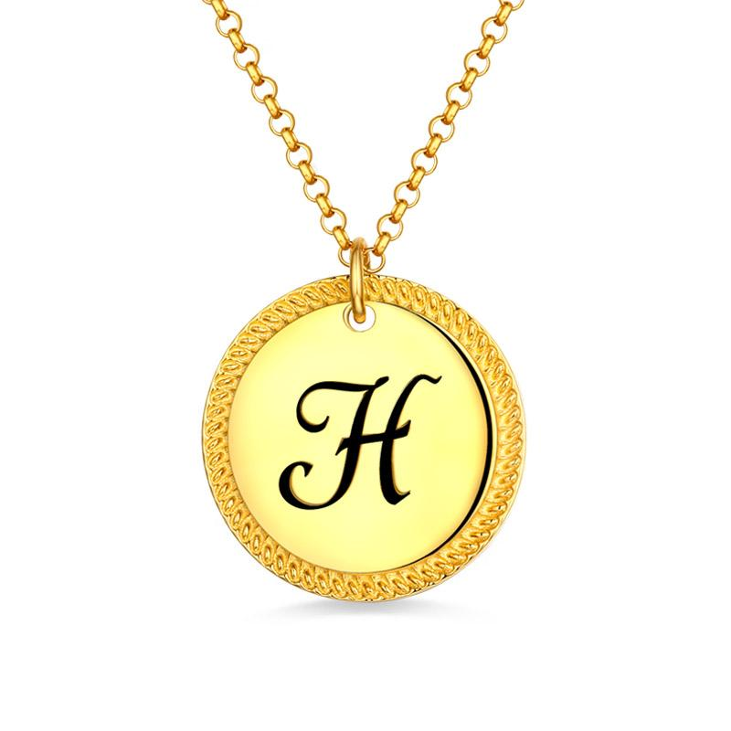 Gros collier personnalisé femme pièce initiale pour elle en or disque pendentif pour cadeau de noël petite amie
