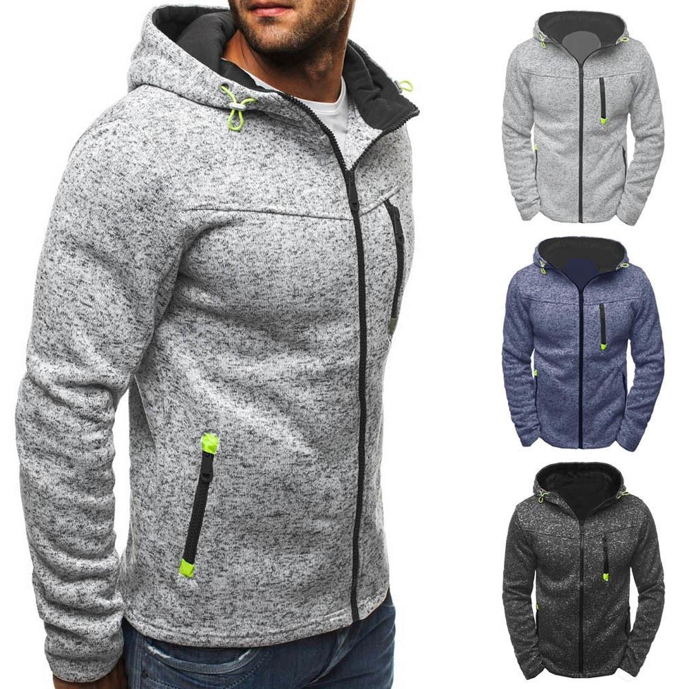 Mode Hommes D'hiver Mince Sweat À Capuche Chaud Sweat À Capuche Zipper Up Manteau Veste Outwear Tops JL D18100903