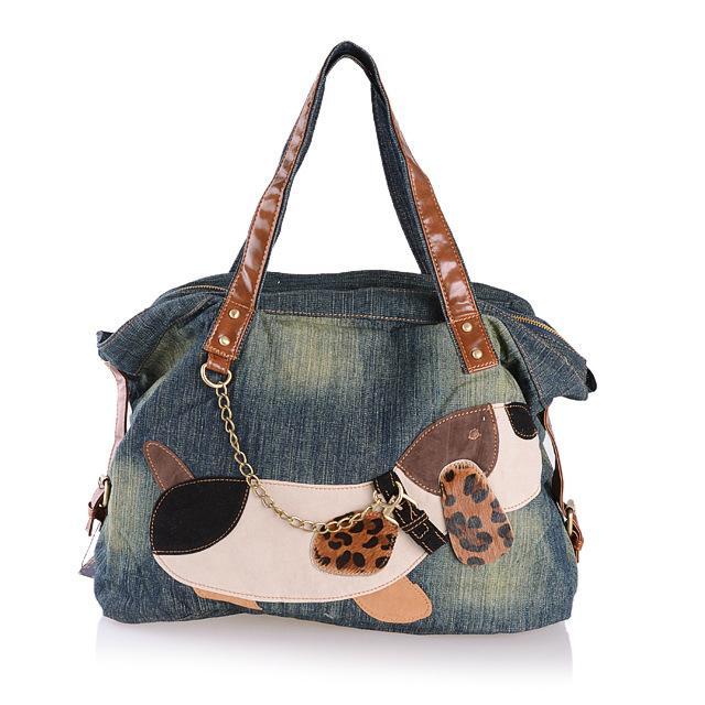 عارضة أزياء جميلة الكلب الدنيم المرأة حقيبة سيدة حقائب جينز حقائب اليد النسائية حقائب الكتف المرأة حمل حقيبة كاوبوي حقائب