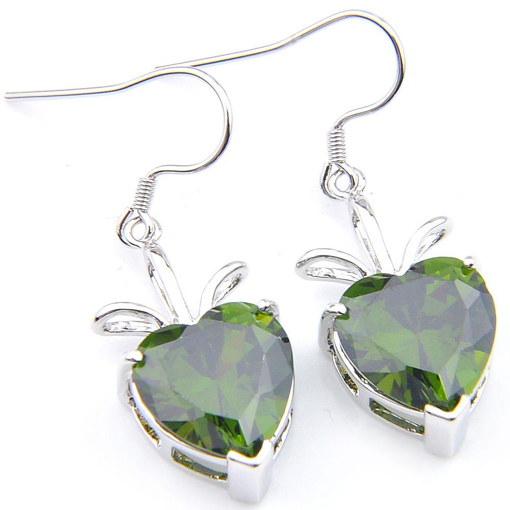 Cuore del fuoco Peridot orecchini 925 verde placcato argento zircone per le donne fascino nozze orecchini di goccia di cristallo austriaco gioielli Luckyshine nuziale