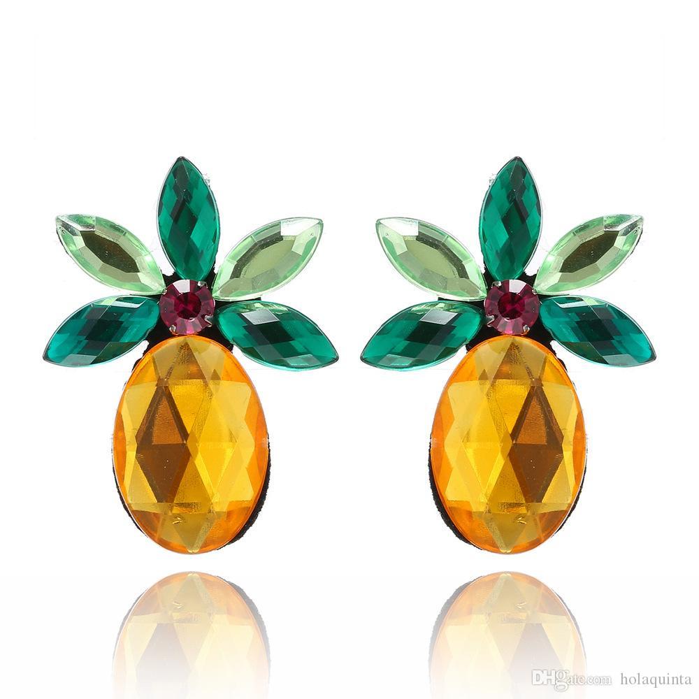 Yeşil Sarı Ananas Damızlık Küpe Kadınlar için Shining Kristal Küpe Meyve Küpe Parti Hediyeler