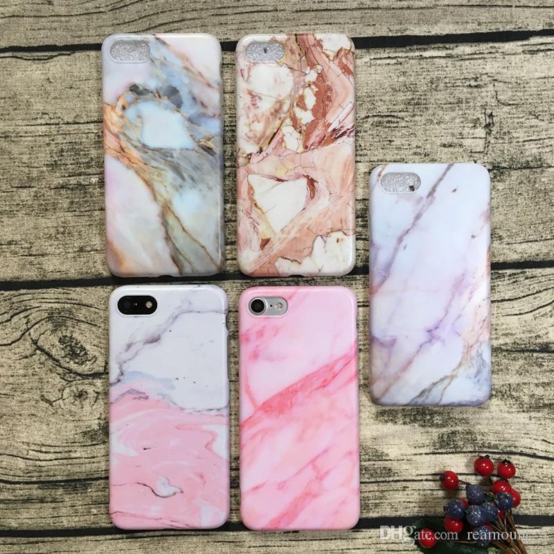 Marmor Rock Stein Textur Muster rückseitige Abdeckung Fall für iPhone 8 Plus IMD weiche TPU-Telefon-Fälle