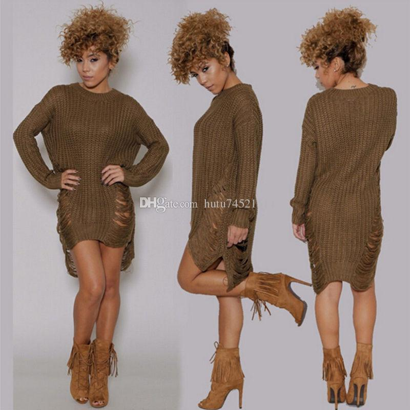 f783785553 ... 2018 New Womens Long Sleeve Sweater Mini Jumper Dress Sexy Winter  Knitted Baggy Party Fit Tops ...