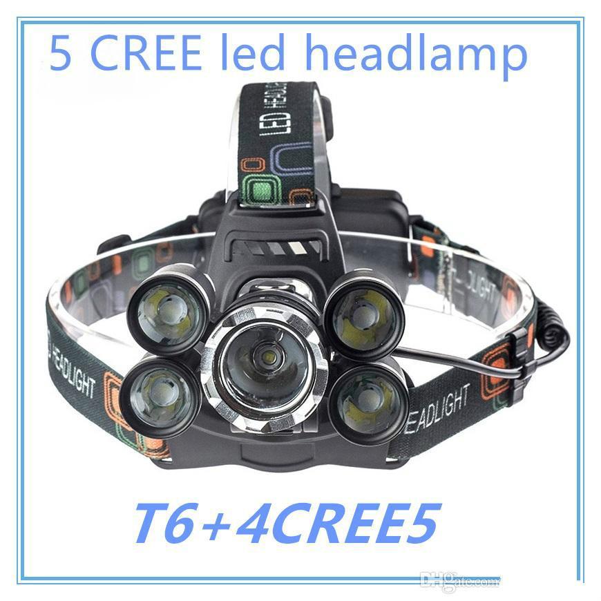 Brand designer 5 LED Headlight 15000 Lumens Cree XM-L T6 Head Lamp High Power LED Headlamp +2pcs 18650 Battery +Charger+car charger