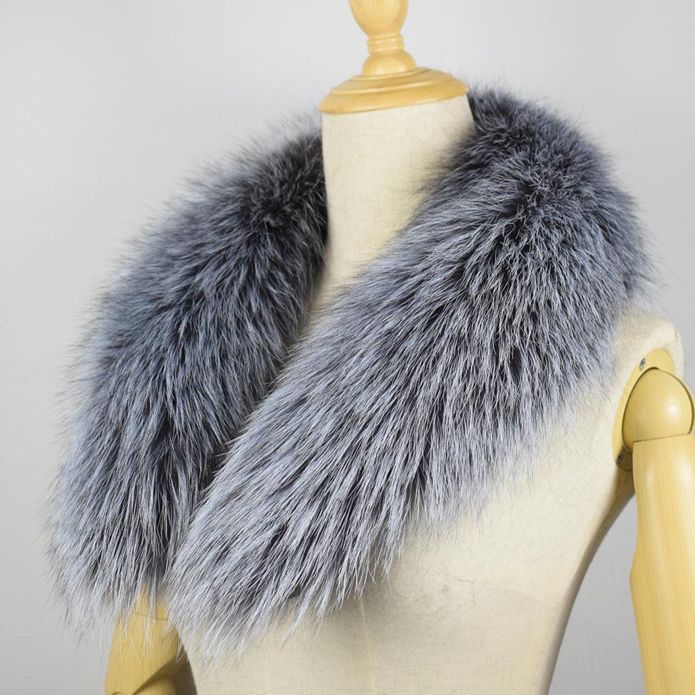 100/% Real Genuine Men/'s Fur Scarf Fox silver Fox Fur Scarf Collar Fur Scarves