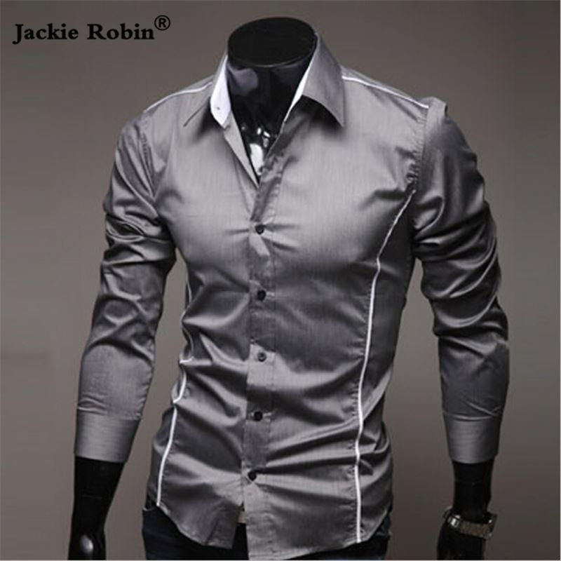 Chemises à manches longues hommes élastique mince Gay Male Shirt Men solide Couleur Robe Hommes Chemises Hommes Marque Vêtements Dropshipping