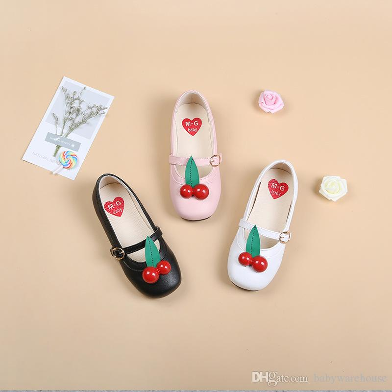 Baby Girls Shoes Fashion Hot Sale Children Sneakers Girls Cherry Accessories Soft Bottom PU Leather Shoes Baby Princess Shoes