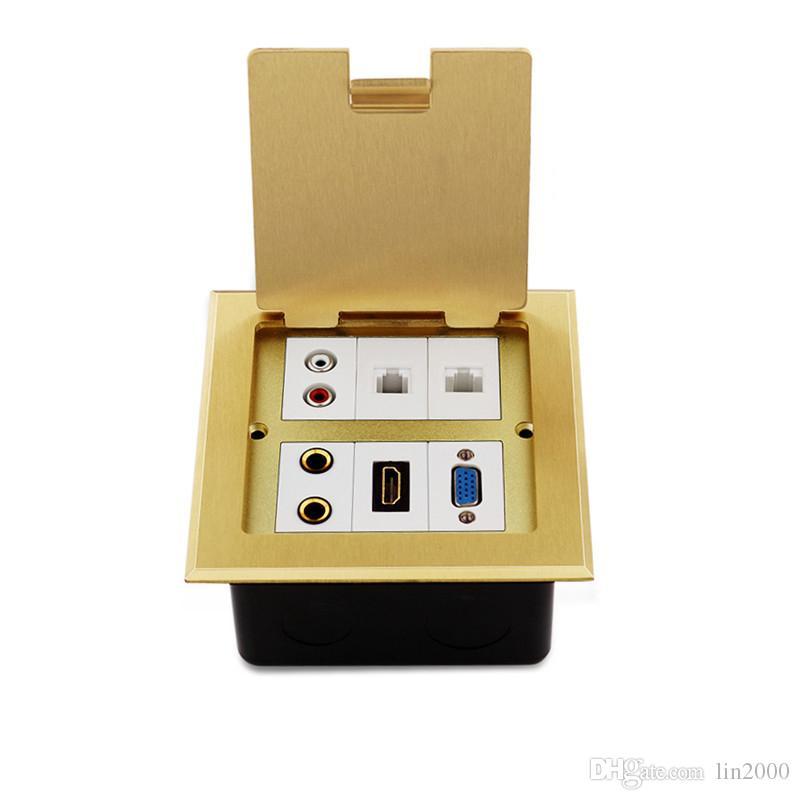 VGA 멀티미디어 황동 오픈 TYPE 바닥 장착형 접지 소켓 콘센트 박스 방수 120mm x 120mm