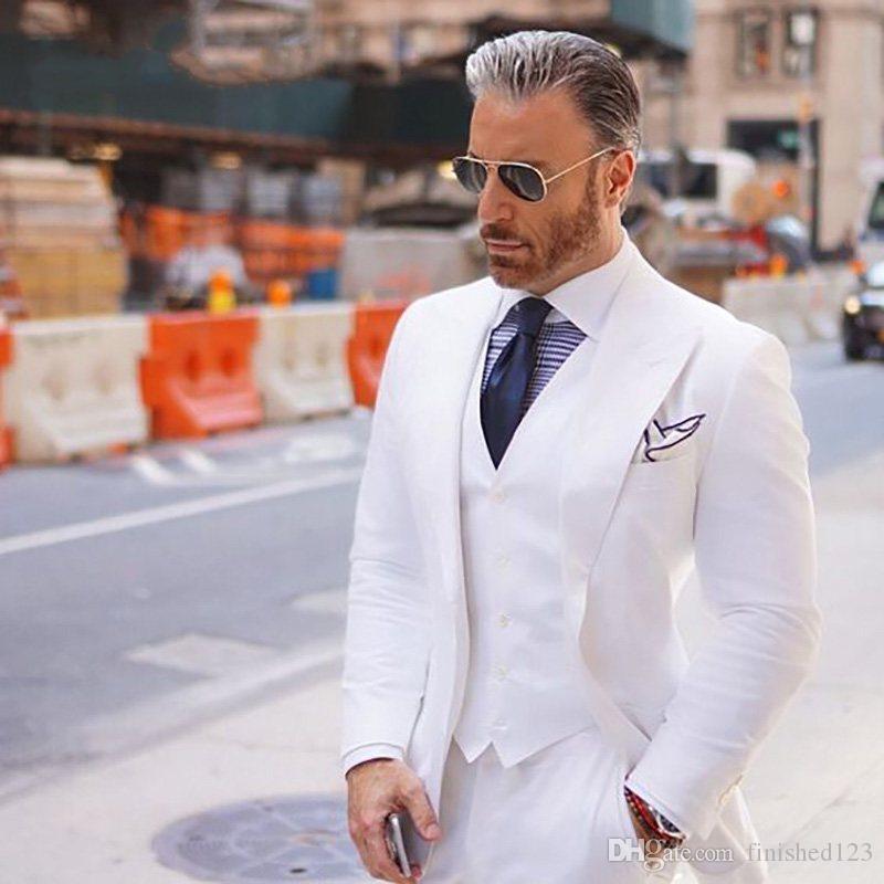 Модным одна кнопка Белый жених смокинги пик нагрудные groomsmen мужчины свадебные ужин Пром костюмы (куртка+брюки+жилет+галстук) нет:1495