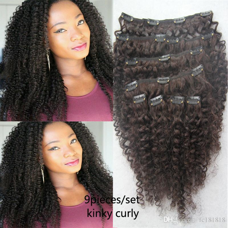 100g 4B 4C Afro Kinky Curly Clip in Human Hair Extensions 9pcs human hair clip in extensions Products Brazilian Remy Hair Clip ins Free Ship