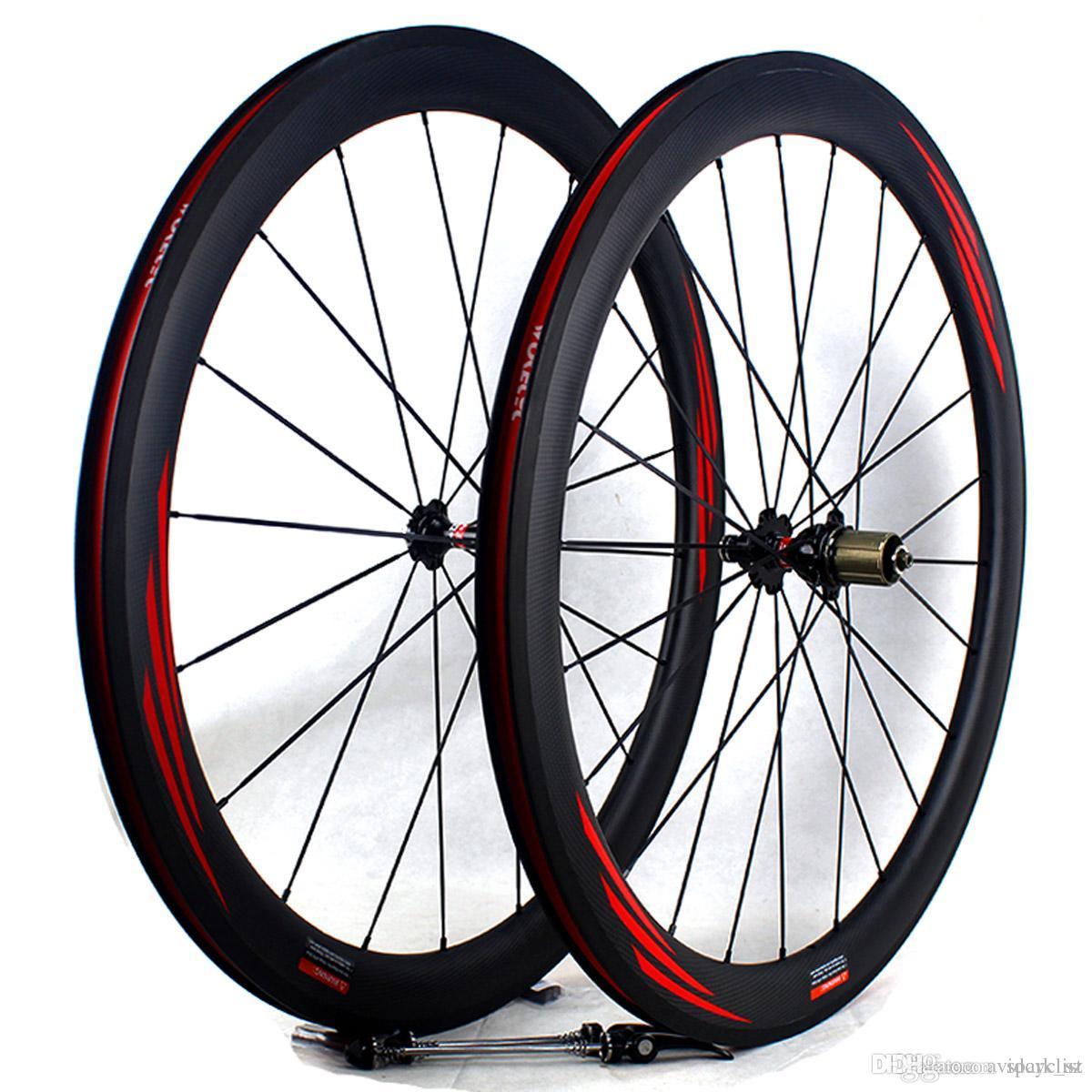 탄소 섬유 자전거 차륜 50mm 700C 현무암 브레이크 표면 관형 클린 도로 자전거 경주 바퀴 림 폭 25mm 3K 매트