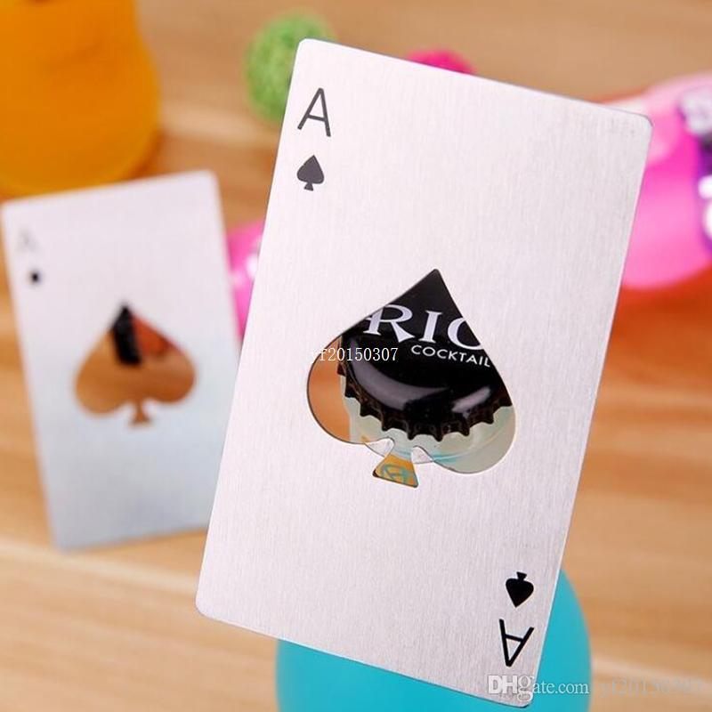 Poker Spades Abridor de botellas de cerveza de acero inoxidable Cóctel de soda Tapa de la botella de cerveza Herramientas abiertas de regalo DHL Fedex Envío gratis
