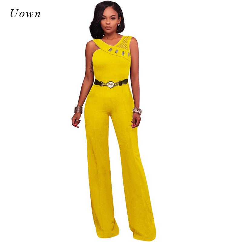 Elegant Jumpsuits and Rompers for Women 2018 Sleeveless Back Mesh Belts Long Wide Leg Jumpsuit Ladies Overalls Combinaison Femme
