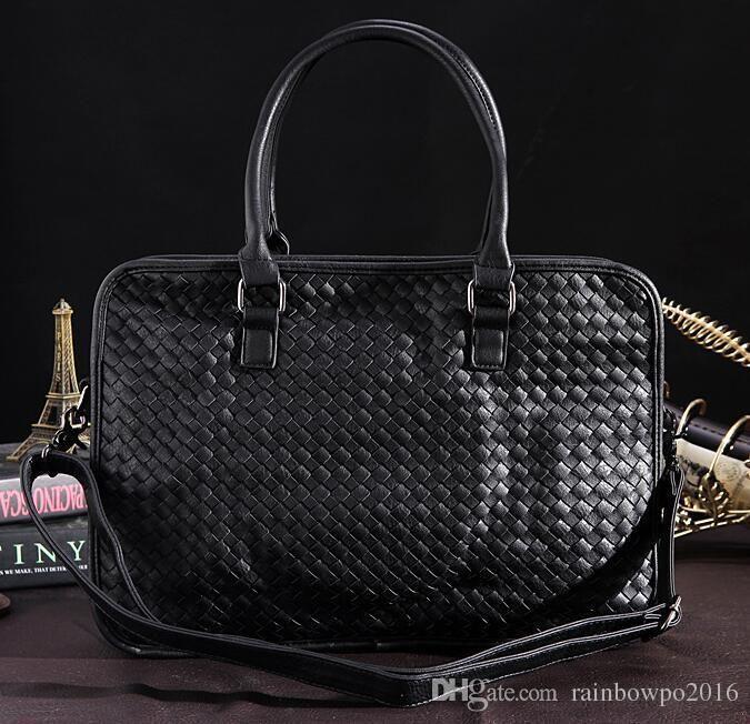Original design fashion men Woven handbags casual hand woven leather handbags simple large capacity leisure computer bag business briefcase
