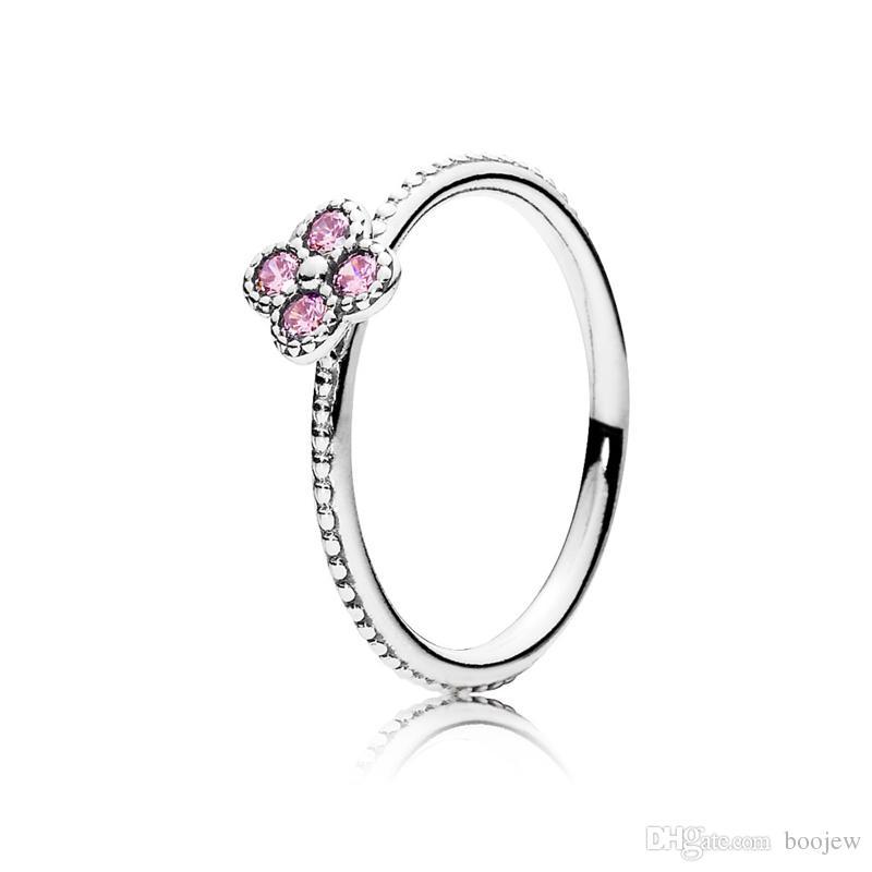 925 Ayar Gümüş Pembe CZ Oryantal Çiçeği Kadın Parmak Yüzük Kadınlar için Nişan Düğün Orijinal Yüzük Charms Takı