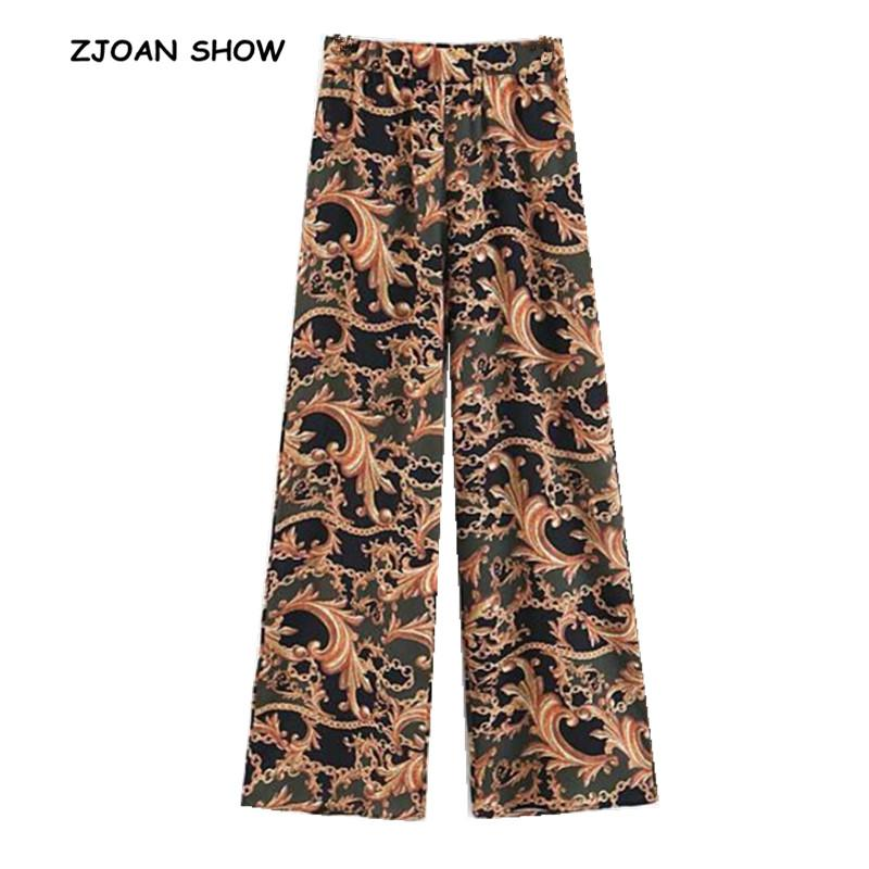 Ethnic Chain Floral Print Wide Leg Pants Vintage 2018 Women Orange Tribal African Print Long Trousers Full Length Hippie Pants