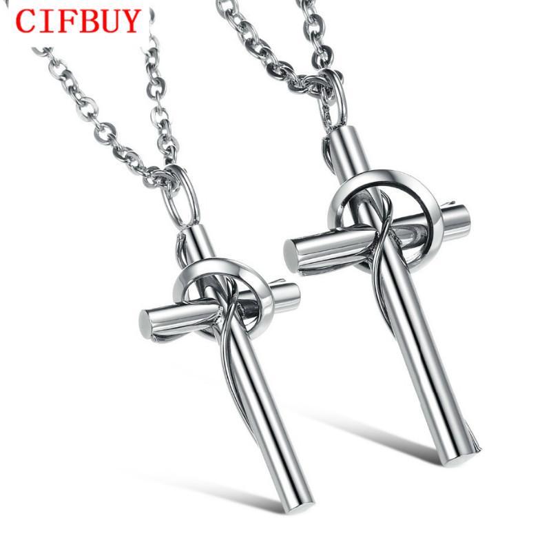 CIFBUY JOAILLERIE Free Box classique Croix en acier inoxydable Collier haute couture polonais bijoux en gros / au détail, 520