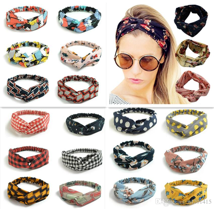 250 Colors colorful headband Elastic head scarf Twisted Knotted Ethnic head wrap Floral Wide Stretch Girls Hair Accessories TS001