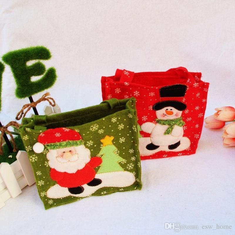 Creative Santa Claus Cadeau Sacs Merry Christmas Candy sac à main Décor Cadeau De Noël Sacs Bonhomme De Neige Nouvel An Présent Fournitures Home Party