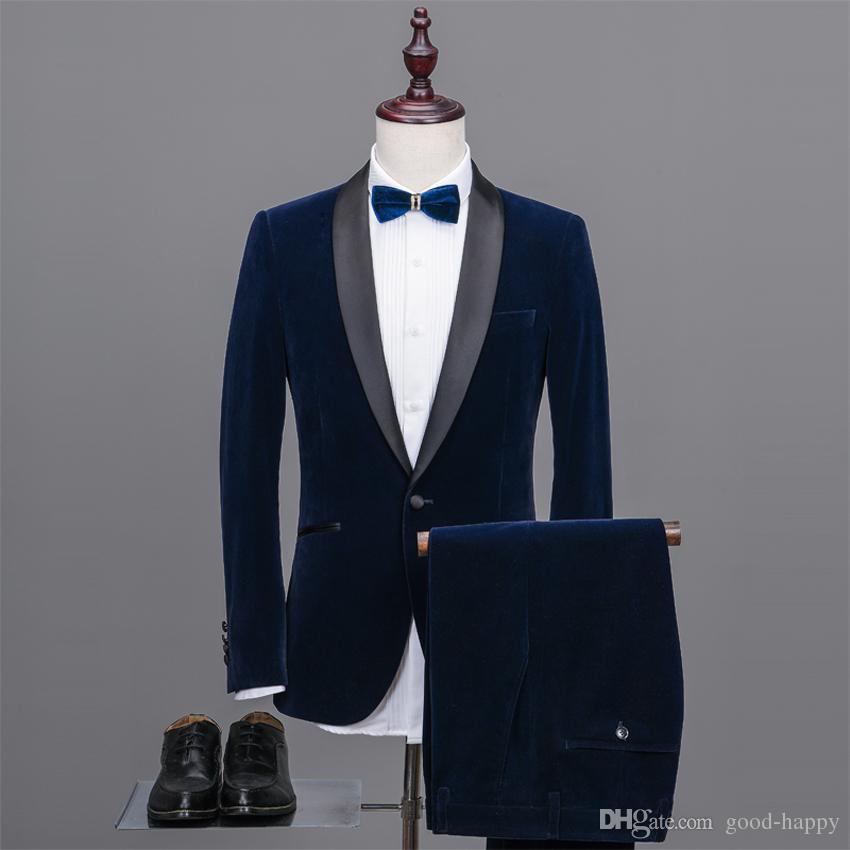 Automne Hiver Bleu Marine Velours Marié Tuxedos Hommes Mariage Smokings Hommes Formel Business Dîner De Bal Costumes (Veste + Pantalon + Cravate + Ceinture) 1906
