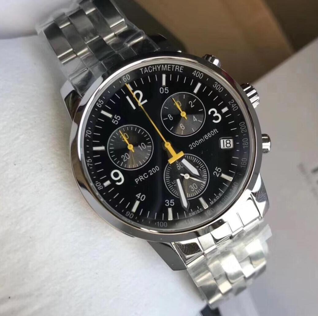 Top Relojes de marca de alta calidad 40 mm 1853 T-Sport T17.1.586.52 Acero inoxidable Negro Dial Cronógrafo de cuarzo Excelente reloj Relojes de relojes para hombre