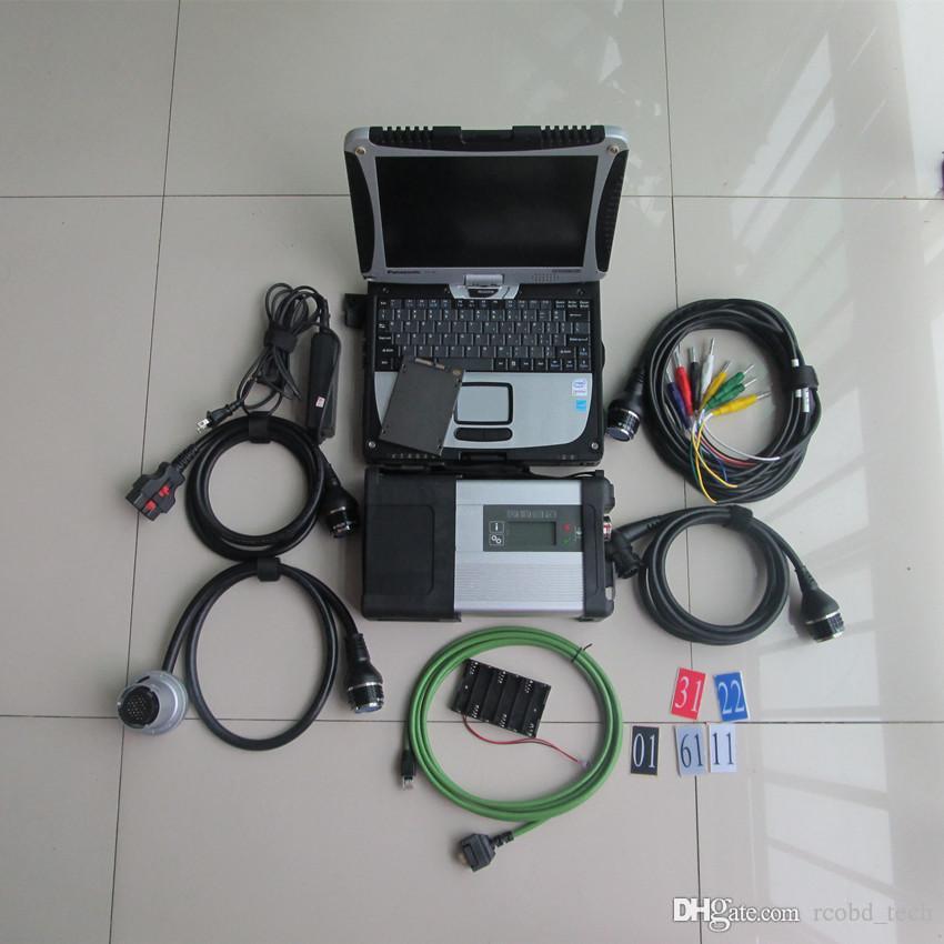 Teşhis Tarama Aracı MB Yıldız C5 Laptop ile Toughbook CF19 Süper SSD Xentry DAS EPC Tam